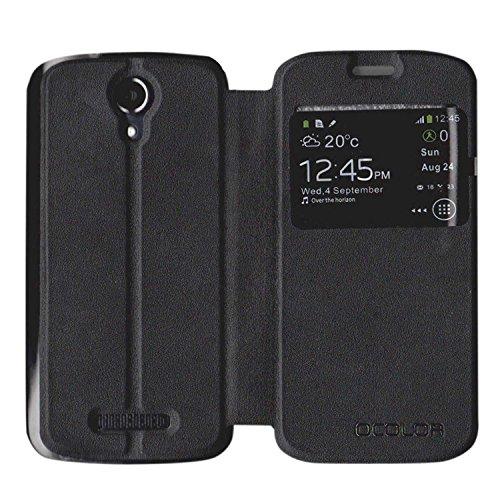 Guran® PU Leder Tasche Etui für DOOGEE X3 Smartphone Flip Cover Stand Hülle Case-schwarz