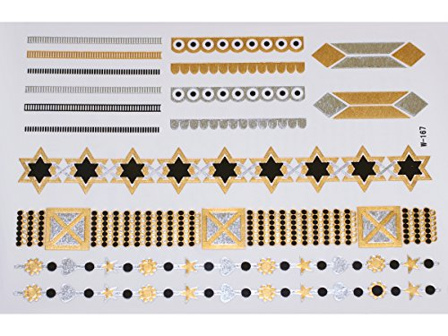 Gold Silver Black | Mettalic Jewelry Flash Tattoo stickers W-167, 21x15cm
