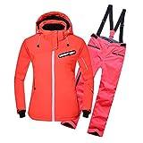emansmoer Damen Skianzug Winddicht Kapuze Baumwolle gepolstert Snowboardingjacke mit Outdoor Wintersport Schneehose Salopettes (Small, Orange(8036) + Orange)