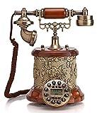 JapanAttitude Telefon Viktorianischer Luxuriöse Steampunk Vintage Chateau Holz und Blumenmuster