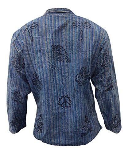 Shopoholic Fashion Unisex: Stonewashed Gestreift Leicht Hippy Großvater Shirt P.Blaue mischung