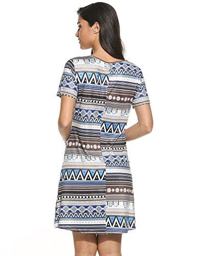 Teamyy Damen Sommerkleid Strandkleider Minikleid Vintage Printed Rundhals Kurzarm A-Linie Kleid Blau Drucken