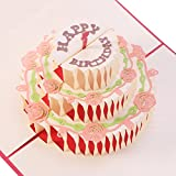 UNOMOR Geburtstagskarte 3D Pop up Grußkarte, Glückwunschkarten  2.geburtstag, handgefertigt Geschenkkarte 3 Schicht Kuchen Design