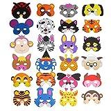 Ccinee Verschiedene Schaumstoff-Tiermasken für Kinder - als Gastgeschenke für die Kindergeburtstagstüte, 24Stück