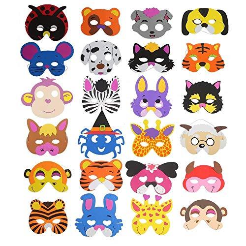 (Ccinee Verschiedene Schaumstoff-Tiermasken für Kinder - als Gastgeschenke für die Kindergeburtstagstüte, 24Stück)
