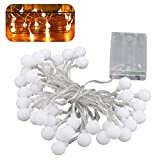 LEDMOMO Kugel-Lichterkette, 50 LEDs, batteriebetrieben, LED-Lichterkugel für Garten, Party, Weihnachtsdekoration (Warmweiß)