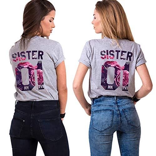 Sister Tshirt für 2 Mädchen Damen freinds t-Shirt BFF Shirts Best Friends t-Shirts Freunde Freundin Oberteile freundschafts Partnerlook Geschenk Sommer Tops 2 Stücke(Grau1,Sister-S+M)