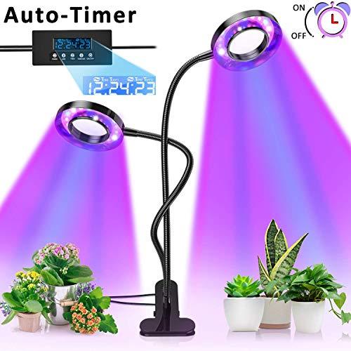 Pflanzenlampe, Pflanzenlicht mit UPGRADED Automatische Zeitschaltuhr, Lovebay 18W Rot Blau Dimmbar Schwanenhals UV Grow Led Wachsen licht Pflanzenleuchte Wachstumslampe Lampe für Bonsais Pflanzen -