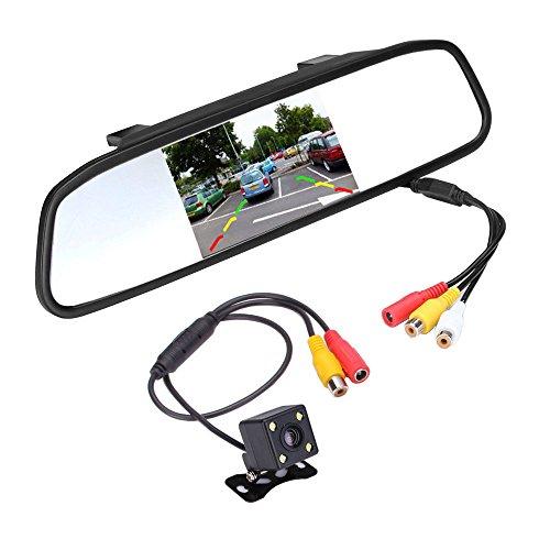 podofo Super Mini Caméra de Recul et 4.3 pouces TFT LCD Miroir Moniteur de voiture Vision Nocturne Caméra Étanche Stationnement Reverse Système de Recul Visuel