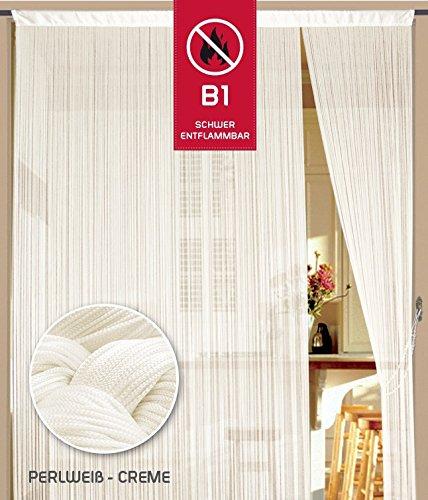 Fadenvorhang 150 cm x 300 cm creme in B1 schwer entflammbar