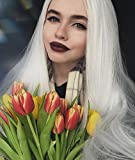 IMSTYLE femme blanc perruque lace front synthétique résistant à la chaleur long cheveux raides style naturel