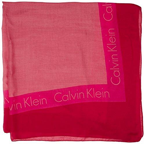 Calvin Klein Logo Square Scarf, Foulard Tour de Cou Femme Rouge (Tango Red 646)