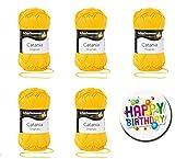 CATANIA SCHACHENMAYR qualità da 3°, 5° e 10° set risparmio: scegliete i vostri colori preferiti dal ventaglio 1 (rosso/giallo); filati per maglieria Premium, filato per uncinetto con 100% cotone pettinato + bottone regalo Happy Birthday. CATANIA-St-FK1-29 FARBE: 208-sonne