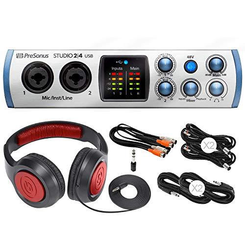 Presonus Audio Interface 2º4 2x2, 192 kHz, USB-C Audio Interface mit Kopfhörer & Basiszubehör Bundle (Mic Presonus Studio)