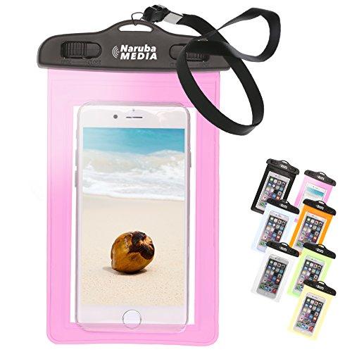 Naruba Media Waterproof | wasserdichte Handyhülle für alle Smartphones bis zu 6 Zoll |19,5 x 11,5 x 1,2 cm| inklusive Gurt und Schnellverschluss |Rosa-Pink