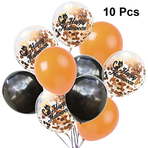 Amosfun 10er Happy Halloween Luftballons Latex Katze Pailletten Paillette Luftballons Kit für Haunted Mansion Halloween Gruselthema Party Dekoration (Orange Schwarz)
