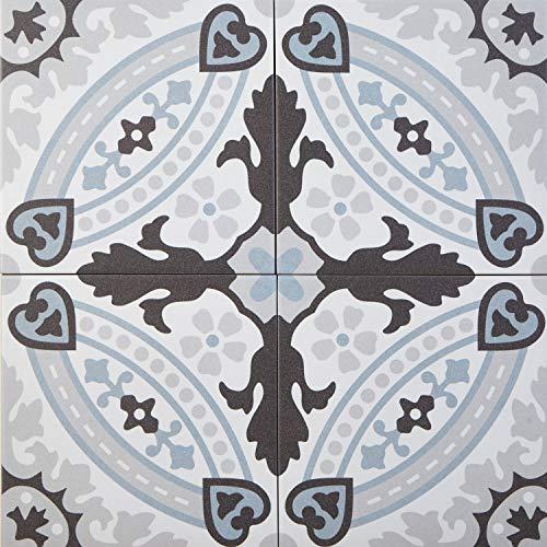 Mediterrane Keramikfliesen orientalisch Esila 20 x 20 cm 1 qm Feinsteinzeug in Zementoptik frostsicher   Bodenfliesen & Wandfliesen im Bad Flur Küche   schöne Küchenrückwand Badezimmer