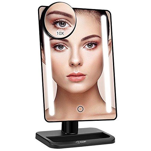 Espejo Maquillaje, BESTOPE 21 Luces LED Espejo Cosmético, Pantalla Táctil Ajusta luz, Aumentos 1x, 10x, Rotación ajustable de 180 °, fuente de alimentación doble, espejo cosmético encimera