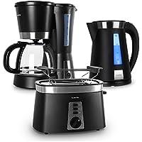 Klarstein Sunday Morning Set de desayuno negro (Hervidor electrico, cafetera, tostador)