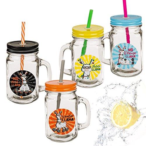 Di-Nesh (067) 4er set Trinkglas LLAMA mit Henkel Deckel Strohhalm 500ml Becher Krug Glas Geschenkbox - Mit Deckel Metall-krug