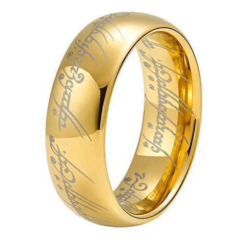 Wolfram Wolframcarbid Herre der Ring Gold fuer Damen und Herren 8 MM, ring_size: 69 (22.0)