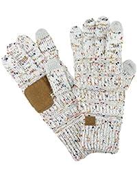 35728fca1b83 ... pour Vêtements   Femme   Accessoires. C C Gants d hiver tactiles  unisexes à gros fils tricotés, antidérapants, ...