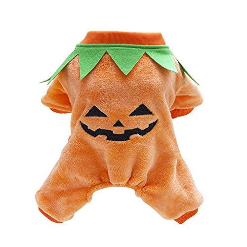FOONEE Hundekostüm, Kürbis-Kostüm, Hunde-Kostüm, Halloween-Kostüm, Herbst und Winter, Warmer Overall, XXL