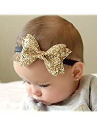 FOK Sparkling Bows Glitter Sequins Hairband Clips for Kids and Girls (Random Colour, 2 Pieces)