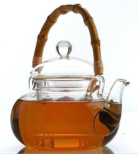 wdragon Klauenhammer, Küche Borosilikat Glas Krug Teekanne mit-Ei und Bambus Untersetzer Tee Wasserkocher (Glas Und Bambus-tee - / Wasserkocher)