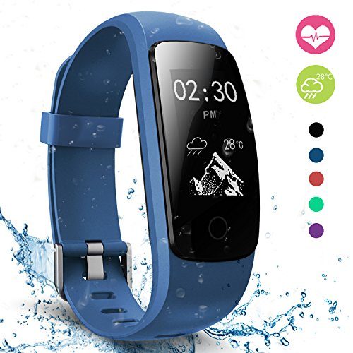 moreFit Slim Touch Wasserdicht Fitness Tracker Mit Herzfrequenz,Smart Fitness Armbanduhr Pulsuhr Schrittzähler,Bluetooth Schwimmen Activity Tracker Gps Für Damen/Herren,Blau