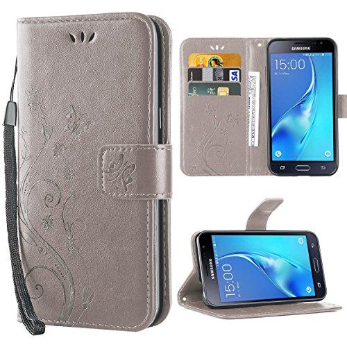 Galaxy J3 Hülle,Solide Butterfly PU Ledercase Tasche Hülle Schutzhülle Flip Case Magnetverschluss Handyhülle im Wallet Bookstyle Standfunktion für Samsung Galaxy J3 2016/2015 5.0 Zoll - Grau -