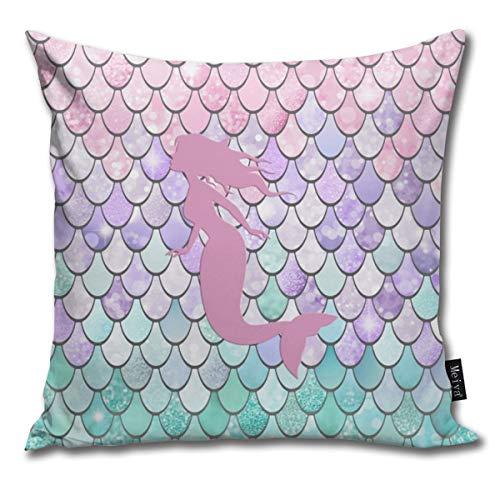 QMS CONTRACTING LIMITED Baumwolle Kissenbezug, Dekorative Atmungsaktiv Kissenbezüge Dekokissen deckt Für Home Auto Bett Sofa Büro Dekor(18 x 18)-Mermaid Silhouette, Pastel Pink, Purple, Teal (Teal Und Pink Dekokissen)