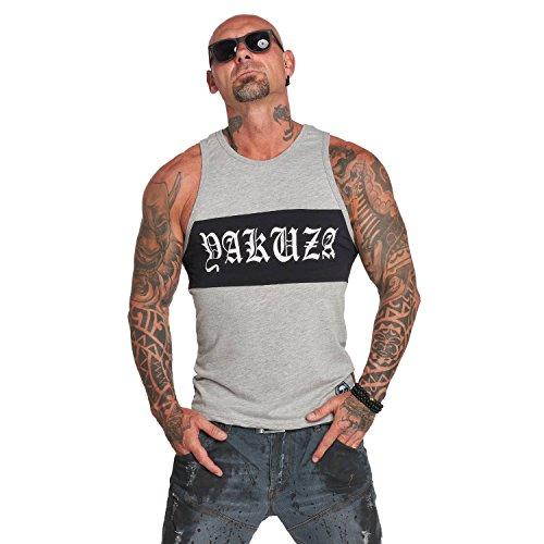 Yakuza Original Herren 893 Two Face Tank Top T-Shirt- Gr. M, Hellgrau Meliert