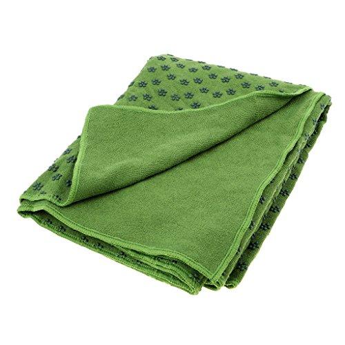MagiDeal Mikrofaser Yoga Handtuch mit Antirutsch Noppen Yogamattenauflage für Yoga und Pilates, 180x60cm - Grün