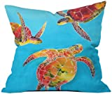 DENY Designs Clara Nilles Tie Dye Sea Turtles Throw Pillow, 18 by 18-Inch