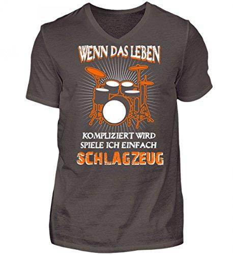 Hochwertiges Herren V-Neck Shirt - Schlagzeug - Leben kompliziert