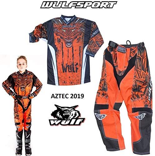 WULFSPORT AZTEC MX Bambini Tuta Moto Pantaloni e Maglia Bambini Moto Scooter ATV Quad Motocross vestito de capretti (3-4 anni, Arancione)