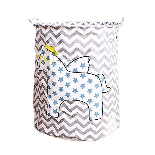 Sungpunet 1 x strapazierfähiger Wäschesack aus Leinen, Aufbewahrungskorb für Wäschekorb Kleidung, Schrank Kleiderschrank Aufbewahrungstasche (Pferd)