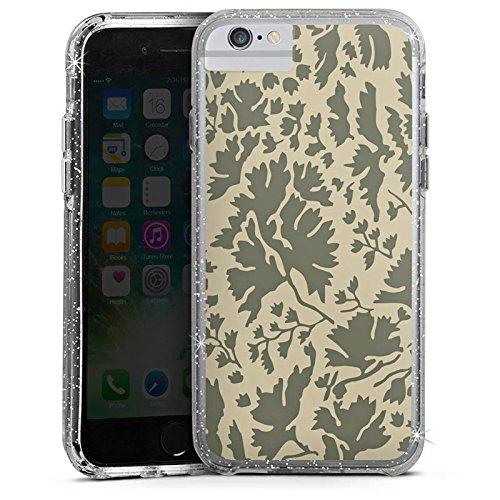 Apple iPhone 6s Bumper Hülle Bumper Case Glitzer Hülle Blumenmuster Laub Leaves Bumper Case Glitzer silber