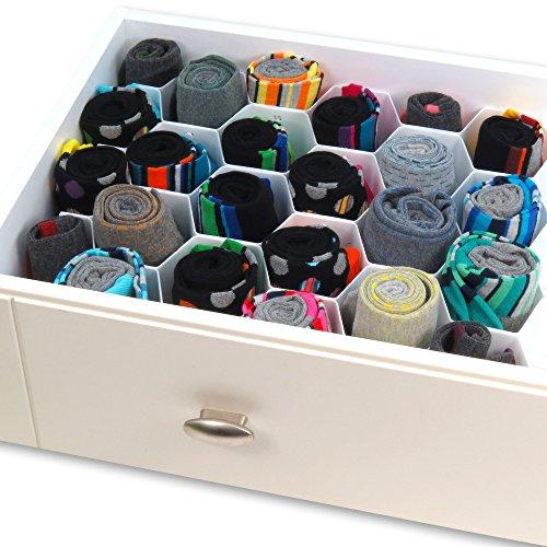 Hangerworld Honeycomb Drawer Organiser with 32 Compartments - Divider for Belt, Tie, Socks, Underwear etc.