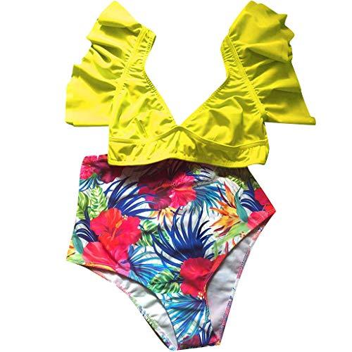 VBWER Bikini Set Damen Sexy Blumendruck Bademode Push Up Raffung Bikinis Badeanzug Zweiteiler Strand Swimwear Swimsuits Beachwear (Superhelden Bier Mädchen Kostüm)