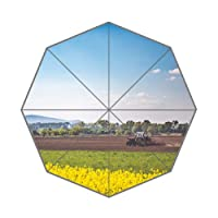 Flipped Summer Y Vintage Photo of Tractor Plowing The Field Customized Art Prints Umbrella