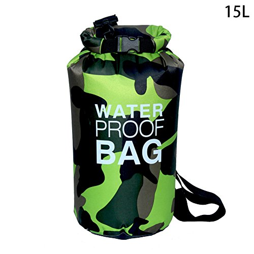 Brightcactus Outdoor Sports wasserdichte Tasche, wasserdicht Bucket Beach Camping Kleidung Aufbewahrungstasche für Schwimmen Tauchen Enthusiasten, grün, 15 l