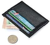 URAQT Männer Echt Leder Geldbörse, Kreditkarte Schutzhülle, Kreditkarte Halter, Schlank Dünne und Weiche (Schwarz)