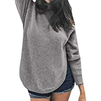 Hanomes Damen pullover, Damen Winter Bluse Langarm Rundkragen Split Solid Color Sweater preisvergleich bei billige-tabletten.eu