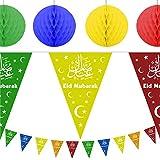Eid Mubarak Ramadan Celebration Decoration Set - 10m Bunting & 4 x Hanging Honeycomb Balls (Multicolour) by Rock