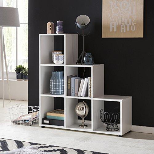 FineBuy Stufenregal LENA Weiß Treppenregal für Ordner & Bücher 6 Fächer Holz | Design Raumteiler Regal | Modernes Aktenregal | Bücherregal