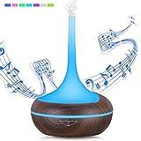Aroma Diffusor 400ml Holz Luftbefeuchter Bluetooth Lautsprecher Zerstäuber Raum Luftbefeuchter Musik Aroma Lampe Öl Diffusor mit 7 Farben LED Luftbefeuchter für Home Office, Yoga, Spa