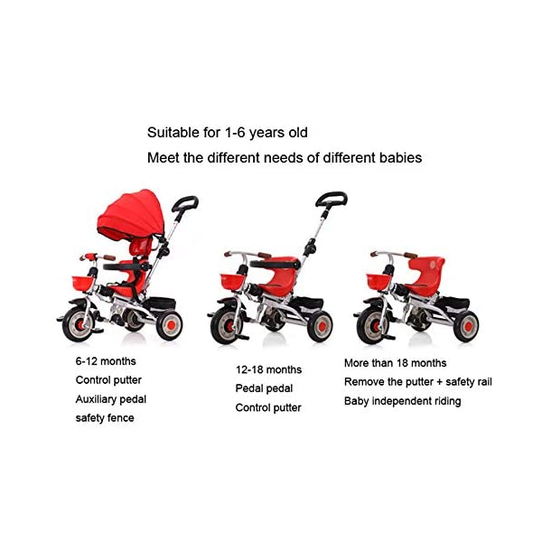 3 In 1 Tricycle 6 Months To 6 Years Folding Sun Canopy 3-Point Safety Belt Childrens Tricycles Blockable Rear Wheels Detachable And Adjustable Push Handle Folding Trike Maximum Weight 25 Kg,Red BGHKFF ★ 3-in-1 multi-function: convertible into stroller and tricycle. Remove the putter and awning as a tricycle. The best choice for 6 months to 6 years. ★ Tricycle foldable, space saving, easy to carry, is the best travel companion ★ Adjustable push rod, the push rod is directly connected to the tricycle handlebar through the steering link, and the parents can use the push rod to control the direction. 2