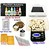 Báscula digital + Kit de pruebas de oro/plateado/platino + piedra de prueba de Pro + Lupa + Juego de herramientas de archivos 10pcs + Real Solid falsos (chapado en plata/oro